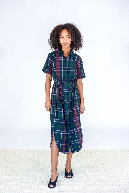 Trovata The Florence Shirt Dress - Wine Plaid