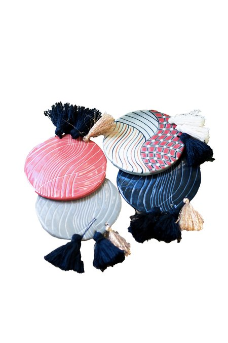 Maya Loom Ceramic Tassel Coaster Set