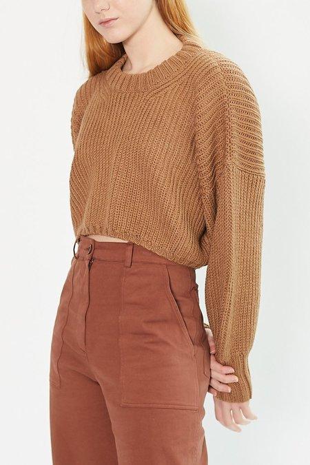 First Rite Crop Crew Sweater - Camel