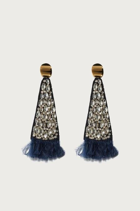 Lizzie Fortunato Navy Crystal Fan Earrings