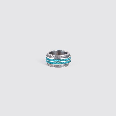 Unisex Mt. Hill Thick Inlaid Ring  - Turquoise