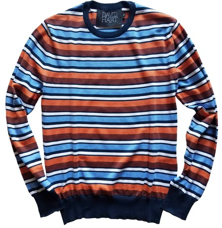 David Hart coral striped crew sweater - Navy