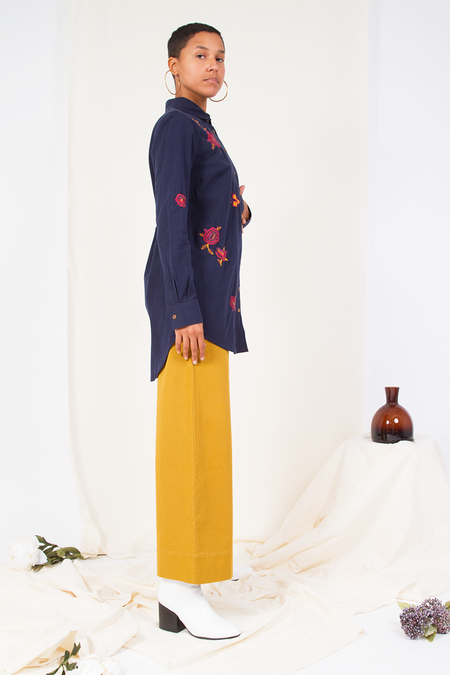 People Tree Odina Embroidered Shirt - Navy