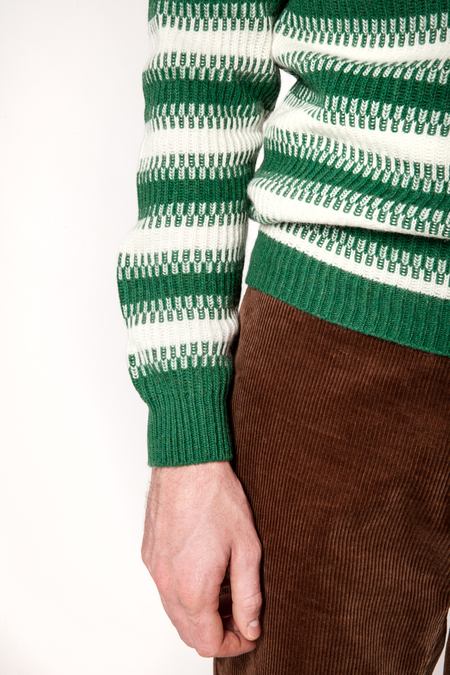 Wool&Co Stripe Crewneck Sweater - Green/White Stripe