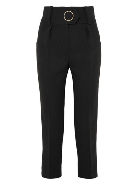 Petar Petrov High Waist Tailored Wool Pants With Velvet Stripe - Black/Red Stripe