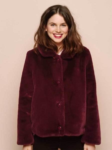 Des Petits Hauts Pervenche Fake Fur Coat - Red