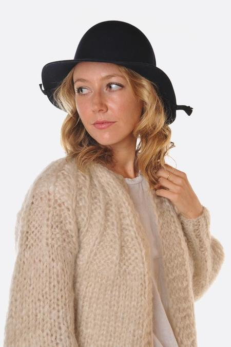 Mature Hat Folding Rabbit Wool Hat - Navy