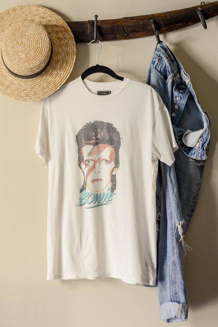 Unisex Retro Brand Black Label 'Bowie' Printed Tee - Off White