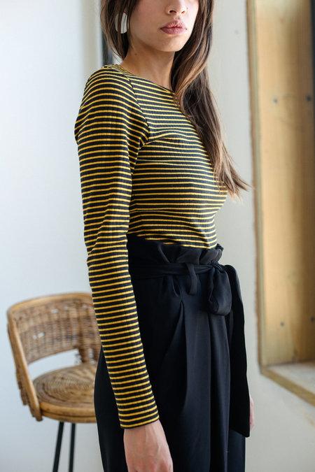 Just Female Tell Blouse - Black/Yellow Stripe