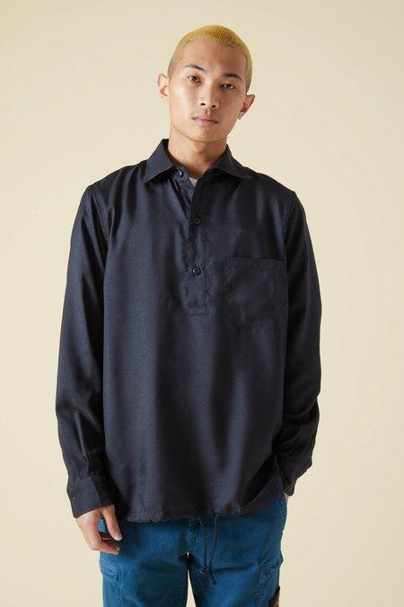 TSS Wooly Touch Serge Hem String Shirt - Navy