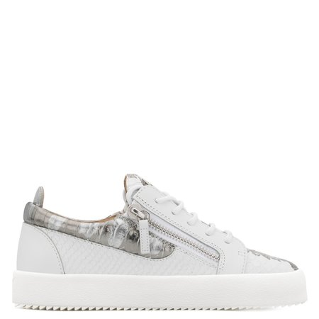 Giuseppe Zanotti Gail Metallic Low Top Sneaker - White/Silver
