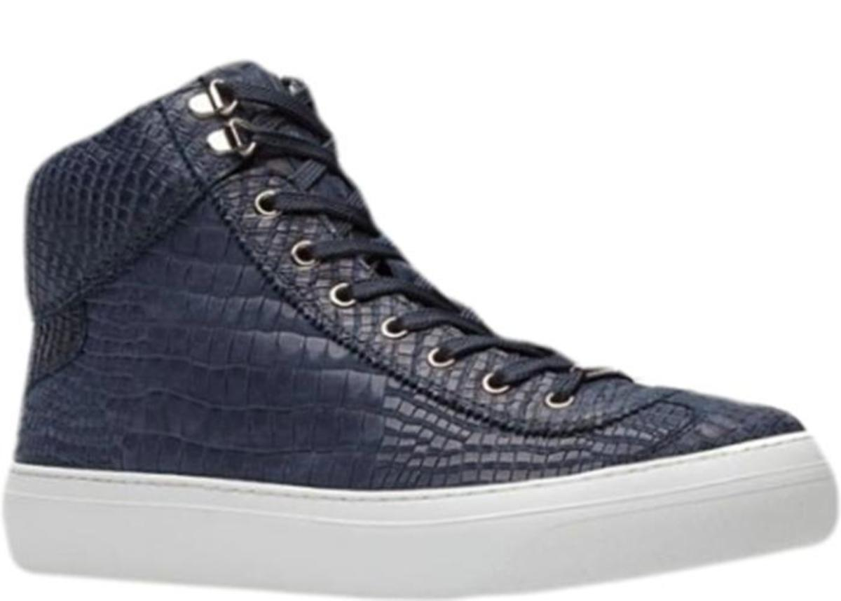 06bc1d2eddb9 Jimmy Choo Argyle Croc Print Nubuck High Top Trainer - Navy Blue ...