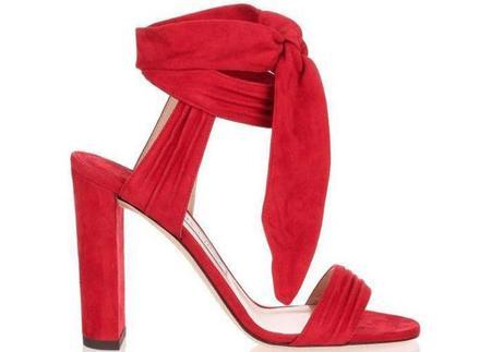 JIMMY CHOO Mirror Leather Kora Suede Sandal - Red
