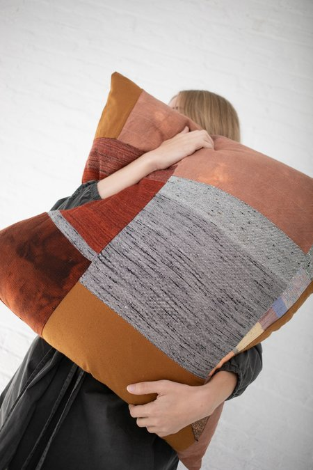 Jess Feury Patchwork Pillow - Rust/Black/White Center