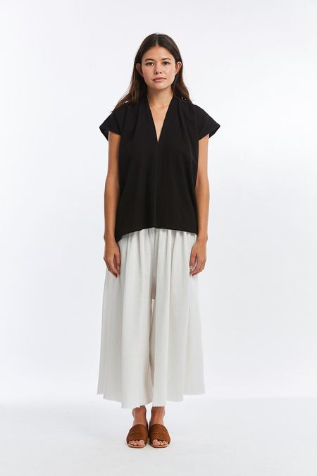 Miranda Bennett Textured Cotton Everyday Top - Black