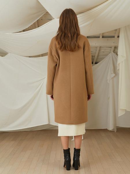 LOOKAST Basic Overfit Wool Double Coat - Beige