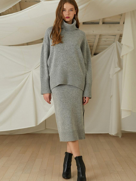 LOOKAST Cahsmere Wool Knit Turtleneck Skirt Two Piece - Gray