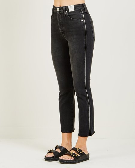 amo denim CHLOE CROP JEAN WITH PIPING - BLACK