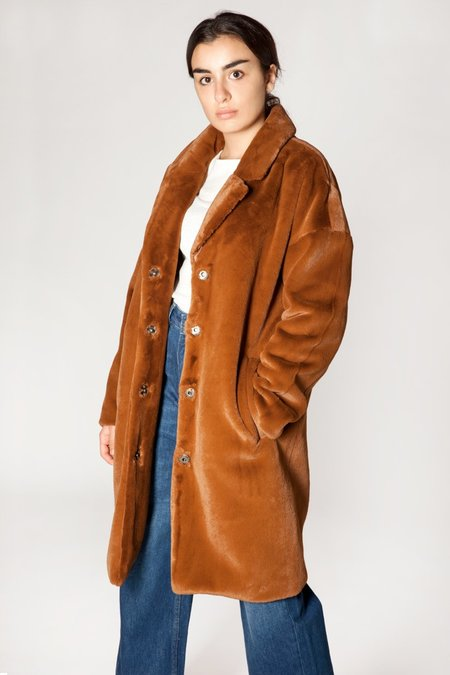 Minimum Belinde Faux Fur Coat - BROWN MONKS