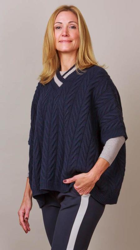 Peserico Cable Knit V-Neck Poncho