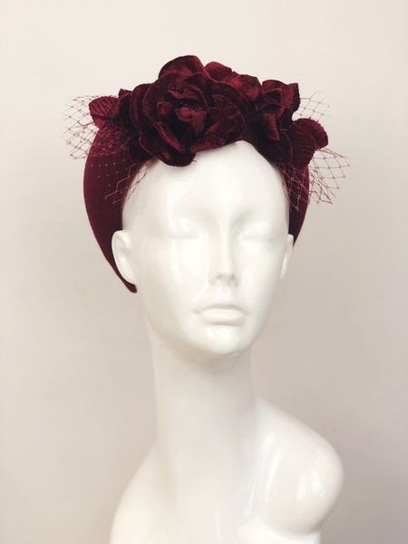 Patricia Melican Millinery The Pheobe Crown - Burgundy