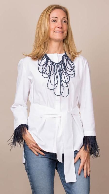 Vilagallo Erica Poplin Blouse With Blue Feathers