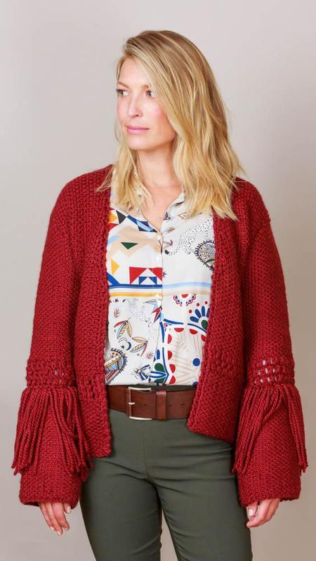 One On One Fringe Cardigan Sweater - Wine