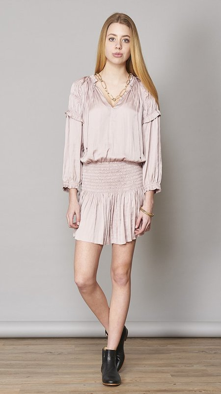 Ulla Johnson Kiko Tech-Satin Tunic Dress - Light Pink