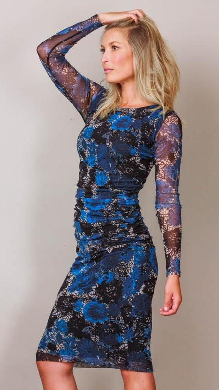 Fuzzi Long Sleeve Floral Print Tulle Shirred Dress - Blue