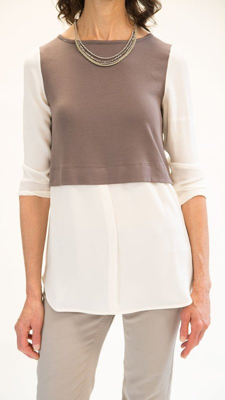 Fabiana Filippi Long Sleeve Shirt - Cream/Taupe