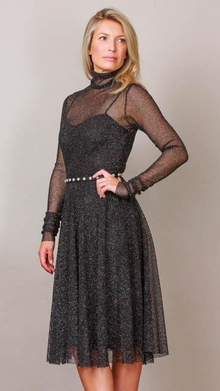 Philosophy Metallic Mesh Midi Dress - Black
