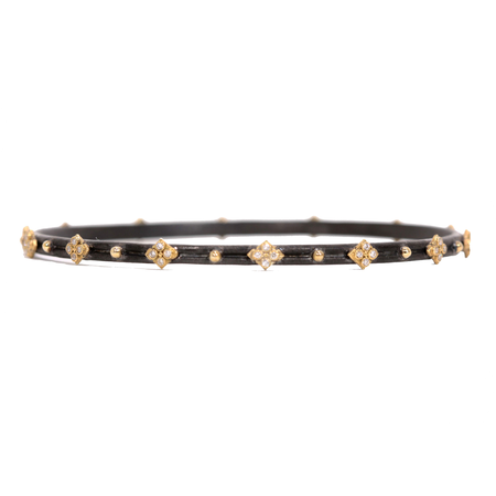 Armenta Midnight Silver Bangle with 4 Diamond Yellow Gold Crosses
