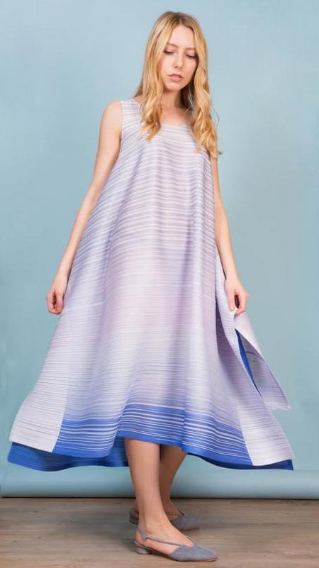 Issey Miyake Pleats Please Flag Dress - Purple/Blue