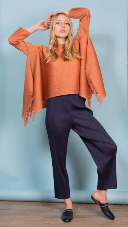 Issey Miyake Pleats Please Long Sleeve Top With Fringe - Copper