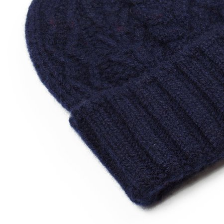cableami Cashmere Alan Beanie - Navy
