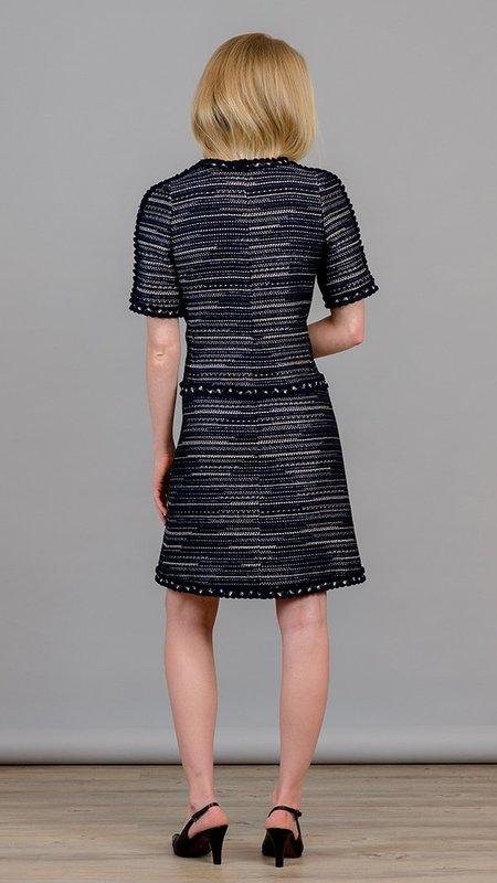 Edward Achour Paris Tweed Short Sleeves Dress - Marine
