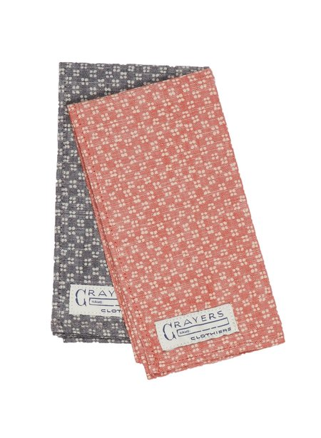 Grayers Lockhart Printed Chambray Pocket Square