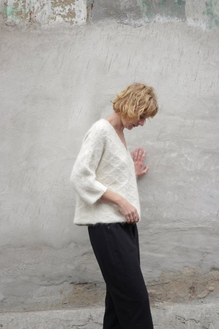 Wol Hide Quilted Loose Pullover - White