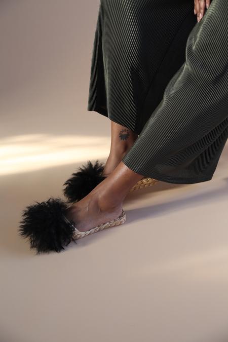 Folk Fortune Handwoven Lamb Fur Slipper - Black