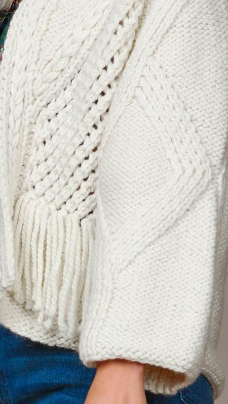 One On One Fringe Cardigan Sweater - Ecru