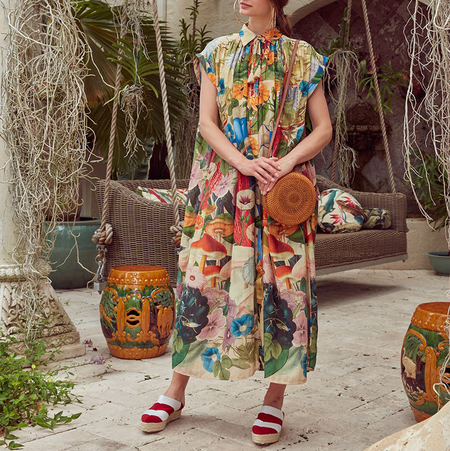 Carolina K Valerie Kaftan - Sacred Plants Multi Print