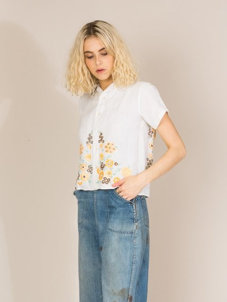 BODE FLORAL EMBROIDERED CAMP SHIRT - ORANGE
