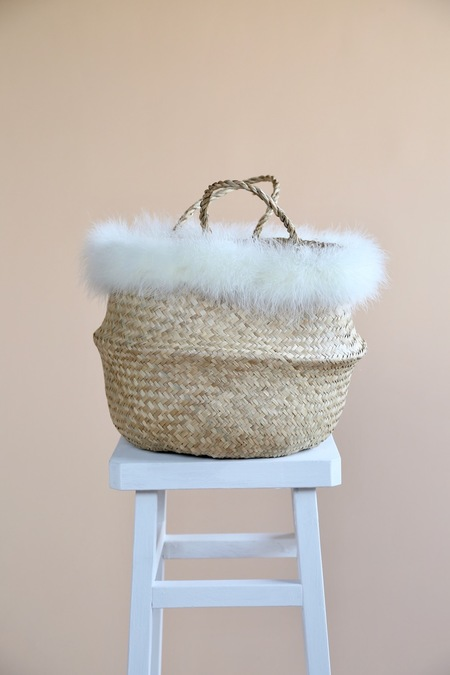 Folk Fortune Marabou Feather Seagrass Baskets