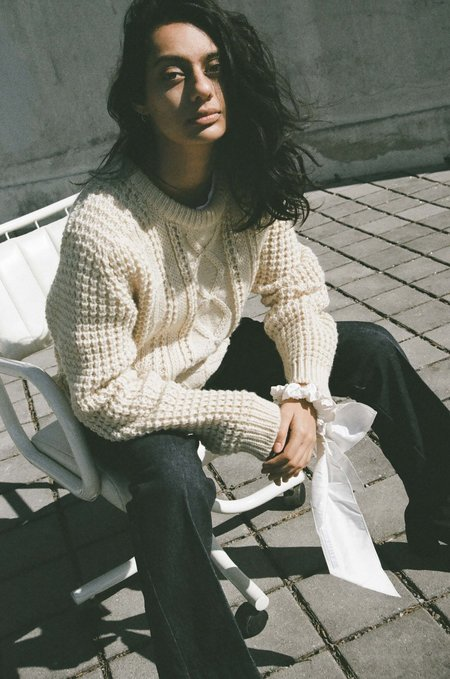 Either, And Vintage Cable Knit Sweater - Cream