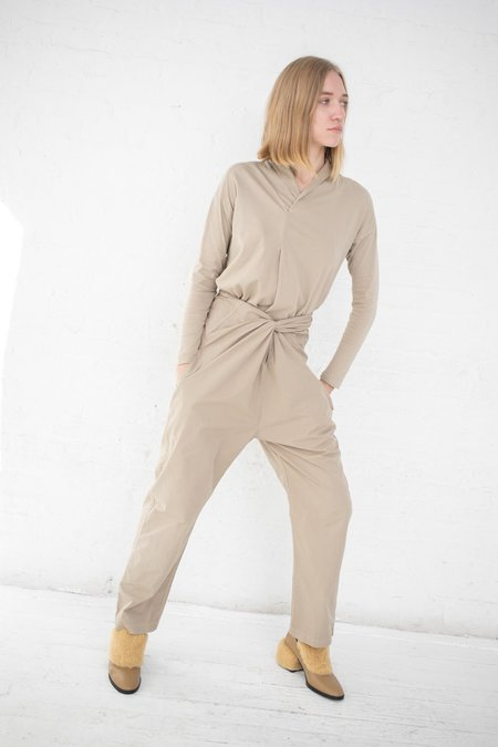 Cosmic Wonder Organic Cotton Overlapped Collar Long Sleeve Pullover - Beige