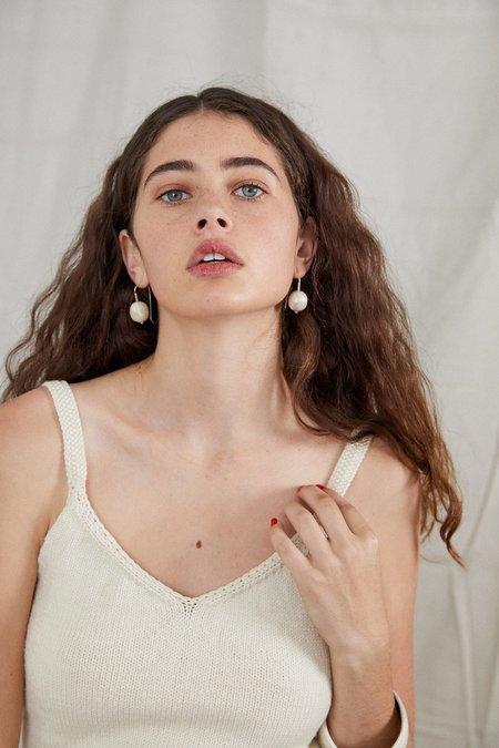 Ovna Ovich Hand Knitted Cotton Silk Roshlo Singlet - Ivory