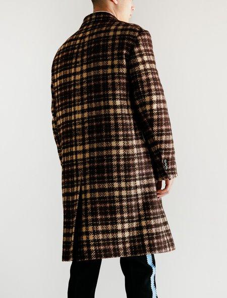 Calvin Klein Oversized Single Breasted Boxy Coat - Glen Plaid Chamois