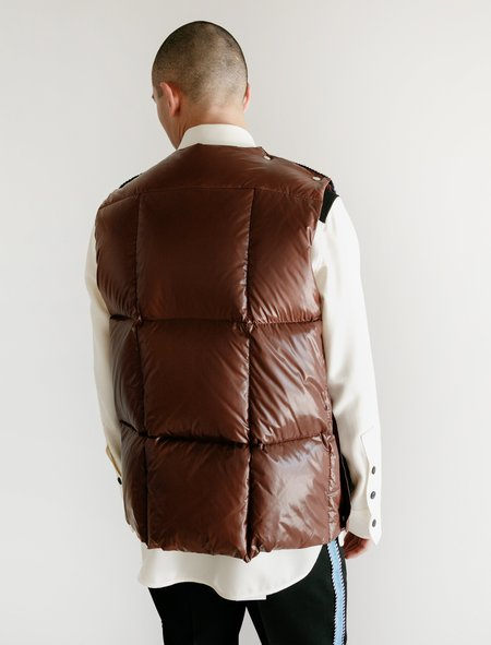 Calvin Klein Quilted Jacquard Knit Down Padded Vest - Brown/Navy