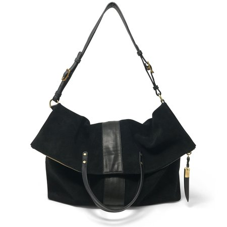 Kempton & Co Large Morleigh Foldover Handbag Tote - black