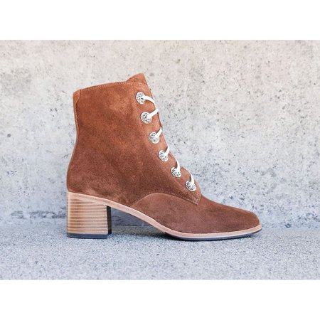 Freda Salvador x Anndra Neen Hardware Ace Lace Up Suede Boot - Brown